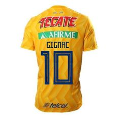 Tigers UNAM YELLOW AWAY GIGNAC   10 2018-2019 Jersey FREE SHIPPING 2a05e73d5