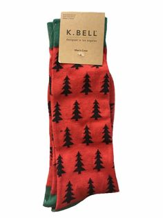 K. Bell Christmas Trees Design Fashion Crew Socks, Men's Size 10-13