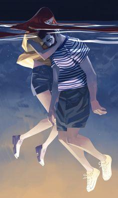 Después de pasar un rato observando las ilustraciones del artista francés Nesskain, solo puedo decir que me han enamorado. Trabajos que hacen que te apasione la ilustración, formas cubicas con un claro sabor a manga/comic ya que el mismo artista se confiesa seguidor absoluto de ese mundo. Autodidacta y apasionado de la naturaleza. Así es Nesskain.