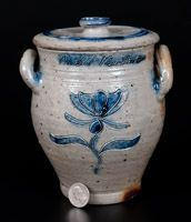 Very Important Diminutive Manhattan Stoneware Lidded Jar Inscribed Rachel Van Riper / November 10, 1800