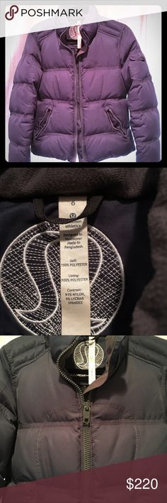 lululemon Dark Grey Puffer Jacket in EUC- 6. EUC: No flaws. Vegan. Super warm.  Grey MATTE shell. Logo stitch design on front & all zippers/buttons. Lined in soft flannel/fleece, pocket on sleeve, zip hand pockets, & an inner pocket. This is out of stock/no longer available. All new puffers are SHINY now! .                                      *I originally bought this for ski season, but only ended up wearing it at home a handful of times this past winter. It's way too warm in CA to ever…