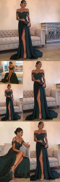 Evening Gowns A-Line Hunter Green Chiffon High Split Cutout Side Slit Lace Top Sexy Off Shoulder Hot Formal Party Dress Prom Dresses M1011#prom #promdress #promdresses #longpromdress #promgowns #promgown #2018style #newfashion #newstyles #2018newprom#eveninggowns#highsplit#greenchiffon#offshoulder#formaldress