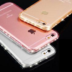 Para el iphone 5s case clear transparente rhinestone de lujo case para iphone 7 6 6 s Plus 5 SÍ Delgada Espalda de Cristal de Diamante Cubierta Suave TPU