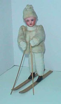Antique Bisque doll Christmas skier candy container  995.00