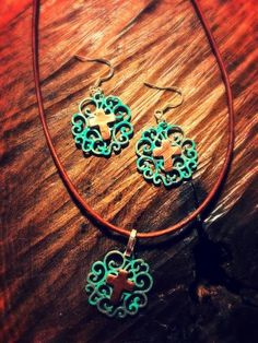 Turquoise Filigree Copper Cross Earrings And Necklace Set Outlaw S X O Bling Things