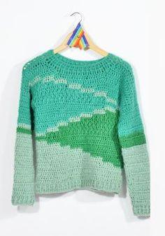 """""""Sweater Flecha"""" de De Las Bolivianas en Todas Tus Tiendas - Ideal para las Monas y Serpientes de Tierra para atraer $$$ wp.me/p4pS1c-Hw Crochet Jumper, Crochet Coat, Cute Crochet, Beautiful Crochet, Crochet Clothes, Diy Clothes, Crotchet Patterns, Knitting Patterns, Tapestry Crochet"""
