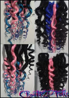 Black, Dark Blue, Light Blue and Pink Solid and Transitional Synthetic Dreads.