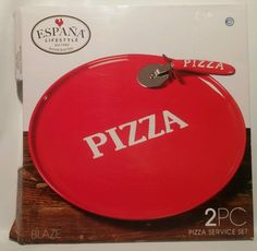 Espana Serve ware 2 Pc Pizza Set  Serving and Pizza Cutter Hand Painted New  #TabletopsUnlimited