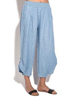 Joe Wenko Mens Printed Open Bottom Casual Elastic Waist Cotton Linen Jogger Pants
