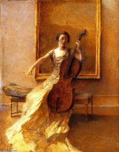 Lady with a Cello, Oil On Canvas by Thomas Wilmer Dewing (1851-1938, United States)