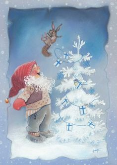 Christmas Time Is Here, 1st Christmas, Holiday Themes, Scandinavian Christmas, Christmas Pictures, Gnomes, Cute Art, Illustrators, Diy And Crafts