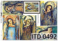Papier decoupage ITD D0492 Anioły - artysta współczesny Beata Raczyńska