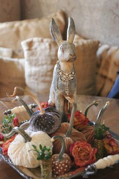 Romancing the Home ~ Bunnies  and bling pumpkins! How can you go wrong!