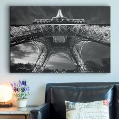 """Black and white photo print of the Eiffel Tower, wall decor & wall art - """"Paris Eiffel Tower"""" by Scott Stulberg available at Great BIG Canvas. Black Wall Art, Big Wall Art, Black White Art, Wall Art Decor, Eiffel Tower Art, Eiffel Towers, Photo To Art, Paris Art, Canvas Prints"""