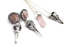 silver raven skull necklace #351
