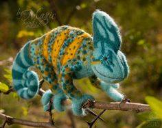 MADE TO ORDER needle felted chameleon, felt animal, wool reptile, exotic gift, cute creature, soft sculpture, custom order, turquoise, toy