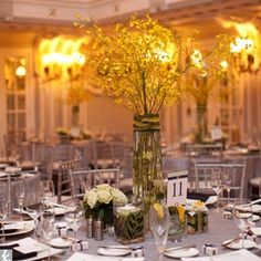 6... tall yellow orchid center pieces