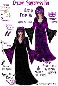 a42e247ceba Plus Size Black   Purple Sorceress Costume + Accessory Kit! Lg XL 1x 2x 3x  4x 5x 6x 7x 8x 9x