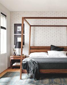 Hale Wood Himmelbett - Hale Bed - Betten - Schlafzimmer - Room & Board Source by k Modern Canopy Bed, Wood Canopy Bed, Canopy Bed Frame, Canopy Beds, Wooden Canopy, Modern Beds, Wood Beds, Fabric Canopy, Tree Canopy