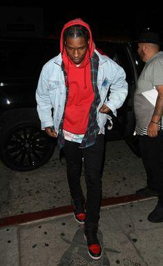 ASAP Rocky, living not existing Asap Rocky Outfits, Urban Fashion, Mens Fashion, Fashion Outfits, Vetement Hip Hop, Asap Rocky Fashion, Lord Pretty Flacko, A$ap Rocky, Denim Jacket Men
