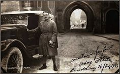 3rd Reich LDR Adolf Hitler, age 35, wearing trench coat posed beside a gray Marcedes-Benz 11-40 (model number RIO 4346) on his release from Landsberg Prison, on December 20, 1924, after serving only nine months