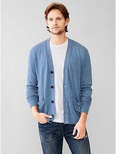 Linen-cotton V-neck cardigan   Gap