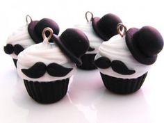mustache cupcakes.
