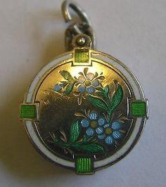 Antique Art Nouveau 800 Silver Enamel Forget Me Not Flower Charm Slider Locket  in Jewelry & Watches, Vintage & Antique Jewelry, Fine, Charms & Charm Bracelets   eBay
