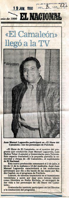 """""""El camaleón"""" llegó a la TV. Publicado el 19 de junio de 1990."""
