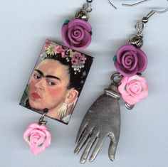 Frida Kahlo Milagro Hand Earrings clay roses