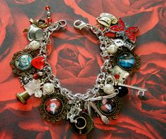 Charm Bracelet Mad Hatter's Tea Party, Alice in Wonderland inspired, Tim Burton.