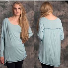 Oversized Comfy Listing! Only 2 left! Wear and go Ladies Heather Knit Long Sleeve Longline Back Detail Tee.  This top is perfect layered or alone.  Wear with leggings or jeans to complete a comfortable yet casual look.  Content:  97% Rayon, 3% Spandex Lewboutiquetwo Tops