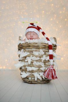Newborn Valentine Hat, Red and White  Elf hat, Christmas Photo Prop, Valentine Prop.