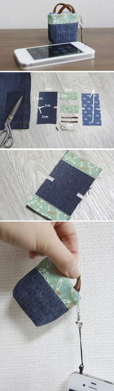 Iphone Jack Plug Ear Cap Purse. Sew DIY Tutorial in Pictures. http://www.handmadiya.com/2015/11/iphone-ear-cap-purse-tutorial.html