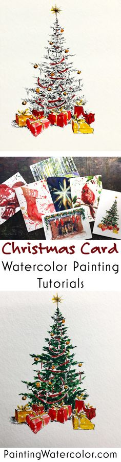 Christmas tree card painting tutorial with printable pdf