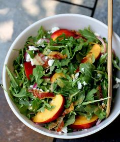 A balance of salty and sweet, this summer salad includes crispy pancetta, peppery arugula, and sliced sweet nectarines. Topped with a simple nectarine vinaigrette. Summer Salad Recipes, Summer Salads, Spring Recipes, Beef Recipes, Cooking Recipes, Healthy Recipes, Healthy Food, Vegetarian Recipes, Nectarine Salad