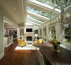 #Sunrooms #SummerIsHere #Relax Kitchen, Breakfast Nook and Family Room. Open Floor Plan Ideas