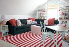 Love these colors for kids loft. Neat ideas for playroom