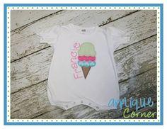 Applique Corner Applique Design, Ice Cream Cone Triple Scoop Applique Design