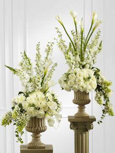 Wedding Urn Arrangements | Classic White Pedestal Arrangement - W10211WS-2