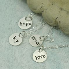 Sterling silver word necklaces by Kathryn by KathrynRiechert, $26.00