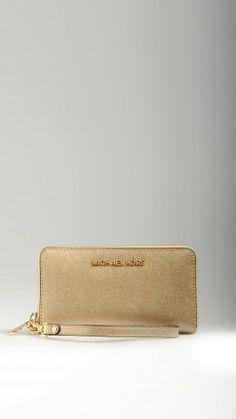 Golden Saffiano leather smartphone purse