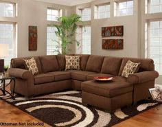 193050-SEC-PC Adams Sectional with Left Arm Facing Loveseat, Right Arm Facing Sofa, Lunar Cinnamon Toss Pillows and Microfiber Upholstery in Patriot Chocolate