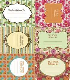 Printable book labels.  How pretty are these? Love this blog!!