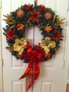 Red & Gold Christmas wreath by Katie Bryson