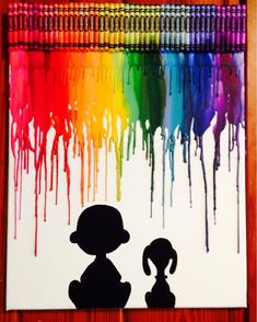Charlie Brown and Snoopy Inspired melted crayon art Crayon Canvas Art, Crayon Painting, Diy Canvas Art, Melted Crayon Canvas, Melted Crayon Crafts, Canvas Ideas, Painting Canvas, Charlie Brown Und Snoopy, Diy Art Projects