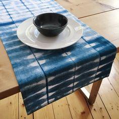 Indigo Shibori | Blue Table Runner | Hand-Dyed | Cotton-Linen | Housewarming Gift | Wedding Gift | Modern Runner | Gift for Her | Tie Dye