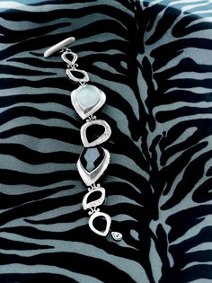 Tuxedo Bracelet - Toggle Clasp. Hematite, Rock Crystal, Cubic Zirconia, Sterling Silver.