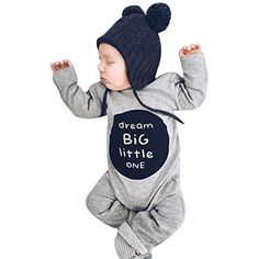 a66bd9413212 Sharemen Newborn Baby Boy Girl Letter Long Sleeve Romper Bodysuit Outfit  Clothes (0-3
