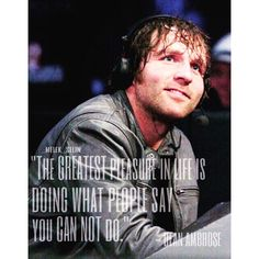 This is why I look up to you, Dean. You've inspired me to try to do things that people think I can't do.